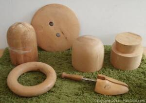 Vintage Millinery Hat Making Supplies Wooden Hat Blocks Forms Lot #1