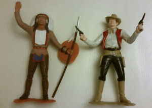 """1964 GoldMarx - Marx Toys Wild West, 6"""" Cowboy and First Nations"""