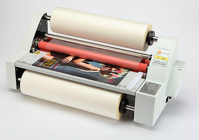 13 350mm Laminator V350 Cold Hot Roll Four Rollers Laminating Machine 110v