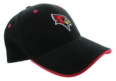 New! Illinois State Redbirds Adjustable Buckle Back Hat Embroidered Cap - Black