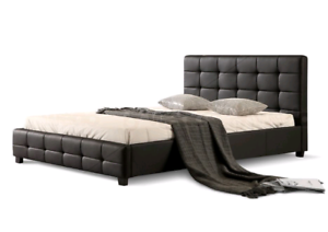 Patterned PU Leather Bed Frame - black or white