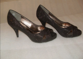Next Opulence shoes 5 black heels sparkly NEW