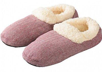 Welle Flach Frauen Schuhe (Mikrowellenschuhe gegen kalte Füße rot 37-41 Wärmeschuhe)