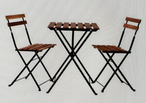 Bistro set, outdoor, black acacia, gray-brown stained steel