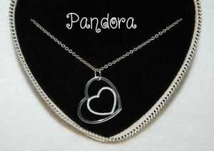 Pandora Heart To Heart Pendant Necklace, Clear CZ