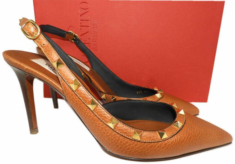 Valentino Rockstud Brown Leather 85 Slingback Pumps Heels Shoes Sandals 39