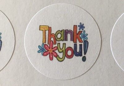Thank You With Flowers Envelope Seals Labels Stickers 1 Round