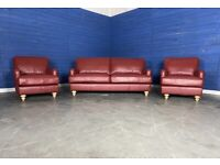 Designer 'Wilmslow' Red Leather 3 Seater Sofa + Armchair + Armchair Suite