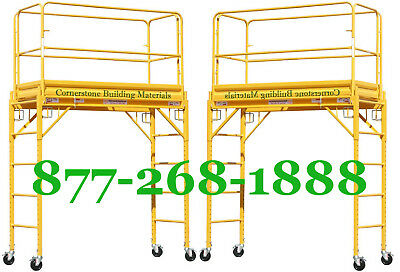 2 Mfs 6 Deck High Scaffold Rolling Towers With Guard Rails Double U Locks Cbm