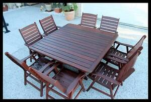 9 pce Kwila outdoor dining setting. Solid  chairs and table Melbourne CBD Melbourne City Preview