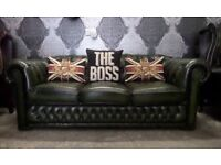 Stunning Chesterfield Winchester 3 Seater Sofa Counch in Green Leather - UK Delivery