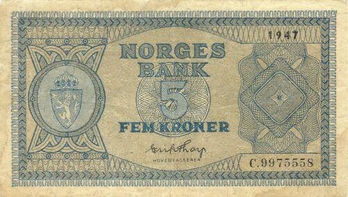 NORWAY NORGES BANK 5 KRONER 1947 ~ P-25 ~ SERIES C ~ SCARCE NICE GRADE NOTE