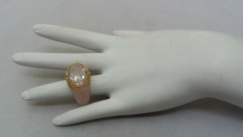 14K GOLD DESIGNER SIGNED EA ROSE QUARTZ CHECKERBOARD FACETED RING SIZE 7