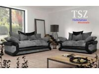 BRAND NEW LARGE AMY 3 AND 2 SEATER SOFA SETTEE COUCH JUMBO CORD FABRIC AND LEATHER GREY BLACK BROWN