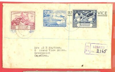 Bechuanaland 1949 UPU 3 diff stamp used on Registered cover to Cape town