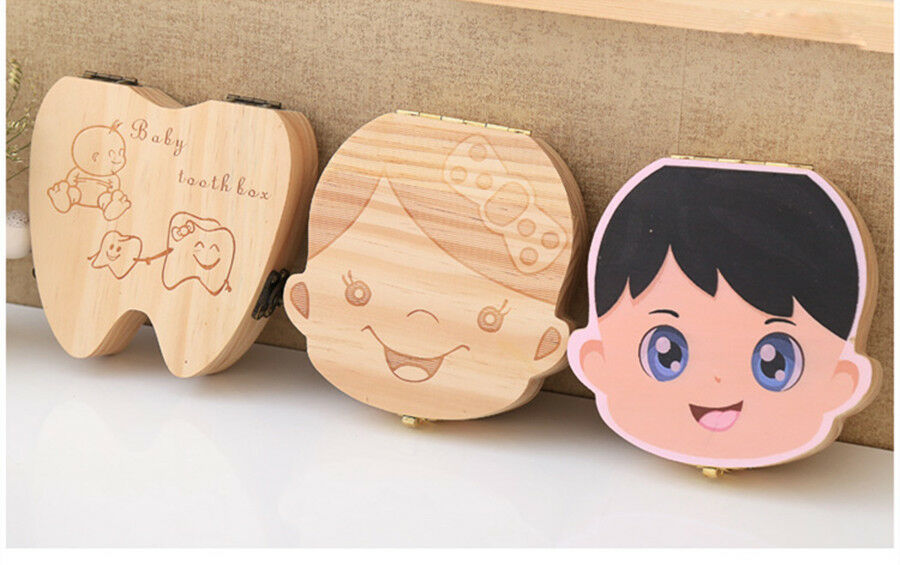 как выглядит Kids Boy Girl Wood Tooth Box Organizer Milk Teeth Storage Baby Save Custom Made фото