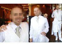 Mens white 3 piece Manuel Mota pronovias wedding suit/formal wear
