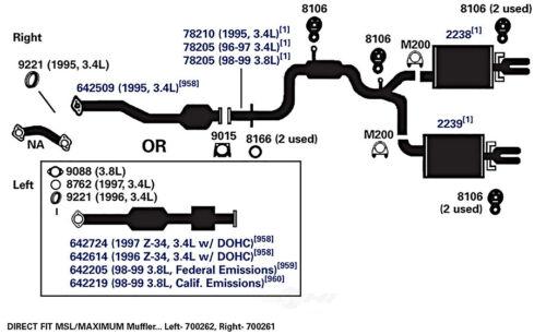 Tubo de escape se adapta a 1996-1999 Chevrolet Lumina, Monte Carlo AP  Exhaust con o federal | eBayeBay