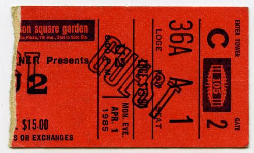 U2 large 1985 NYC T Concert Ticket Stub - GUEST TICKET