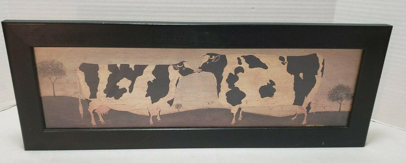 Warren Kimble Folk Art Kissing Cows Print Framed 21.5 X 7.75  - $19.99
