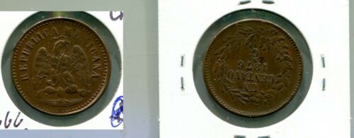 1876  MEXICO 1 CENTAVOS  COPPER COIN AU 6666M