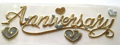 Embroidered 3 D Stickers - Anniversary Golden Wedding Silver RARE Embroidered Sticko 3D Sticker