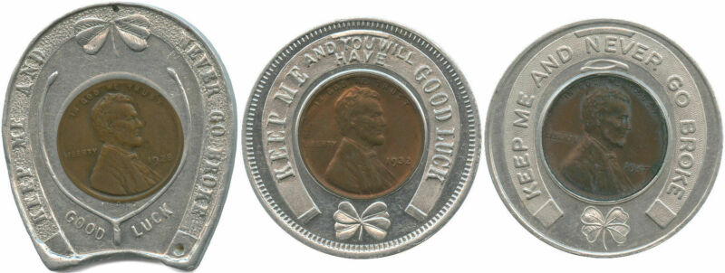 3 Different Jewelers Lucky Penny Tokens Encased 1928, 1932, 1947 Lincoln Cents