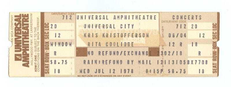 Kris Kristofferson Rita Coolidge Ticket 1978 Jul 12 Universal Amphitheater
