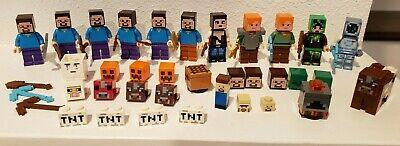 authentic LEGO minifigure lot Minecraft Steve Alex Zombie Pumpkin accessories