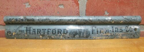 ANTIQUE 19c HARTFORD FIRE INS CO ADVERTISING TIN METAL RULER SIGN CLIPBOARD TOP