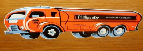"VINTAGE ""PHILLIPS 66 PETROLEUM OIL TANKER TRUCK"" 14"" DIE-CUT METAL GASOLINE SIGN"