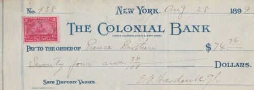THE COLONIAL BANK, NEW YORK   WITH REVENUE STAMP  1899