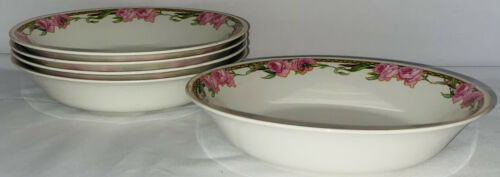 """5 Alfred Meakin *GLASGOW *PINK ROSES* 7 1/4"""" COUPE SOUP BOWLS"""