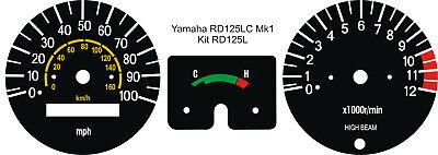<em>YAMAHA</em> RD125LC RD125 LC MK1 SPEEDO TACHO CLOCKS GAUGES DIAL FACE OVERL