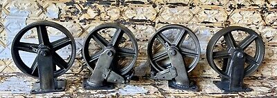 4 Huge 8 Industrial Iron Casters With Brake Modern Steam Punk For Cart