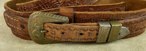 vintage western tooled leather HOLSTER BELT F