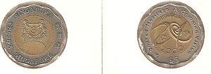 Singapore-5-Dollari-2000-Millennium-bimetallico-perfetto