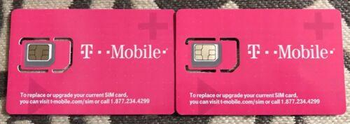 2X NEW T-Mobile SIM CARD 5G 4G LTE TMobile Triple Cut Nano S