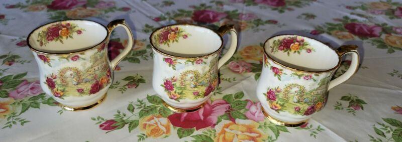 Royal Albert Old Country Roses 25th Anniversary Celebration 3 Mugs