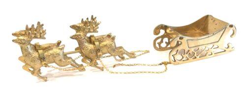 Vintage Christmas Brass Santa Sleigh And 4 Reindeer Korea