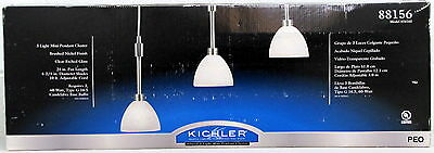 Kichler Glacial Three Light Pendant Cluster Brushed Nickel Clear Etched Glass ()