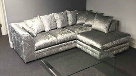 ** EXPRESS DELIVERY** *BRAND NEW* DYLAN CRUSH VELVET CORNER SOFA WIT 1 YEAR WARRANTY