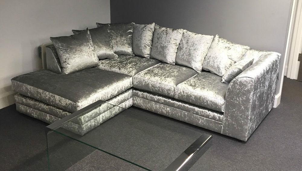 Express delivery brand new julie crush velvet corner for Crushed velvet sectional sofa