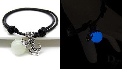 Anker Maritim Kugel Blau Nachtleuchtender Glow in the Dark Unisex Surfer Armband ()
