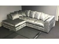 BRAND NEW JULIE CRUSH VELVET CORNER SOFA ON SPECIAL OFFER