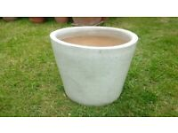 beautiful large glazed terracotta oval-shaped pot in excellent condition