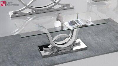 Diseñador Mesita Baja Acero Inox. Templado Vidrio Mesa de Salón 100x100x46cm