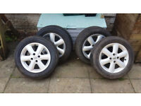 """SET OF 4 X 15"""" ALLOYS WITH TYRES FOR MK3 NISSAN MICRA. £35 EACH"""