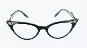 50'S VINTAGE STYLE CLEAR LENS BLACK FRAME RHINESTONES CAT EYE WOMEN EYEGLASSES