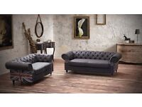 Fabulous Brand New Studded Flag Chesterfield Brown Leather Sofa, 3+2 seaters, Can deliver